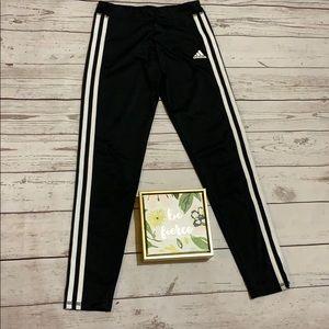 Girls black Adidas track pants size medium, 10/12